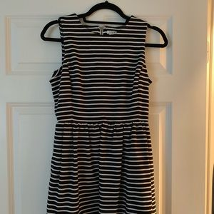 Jcrew black and white striped dress